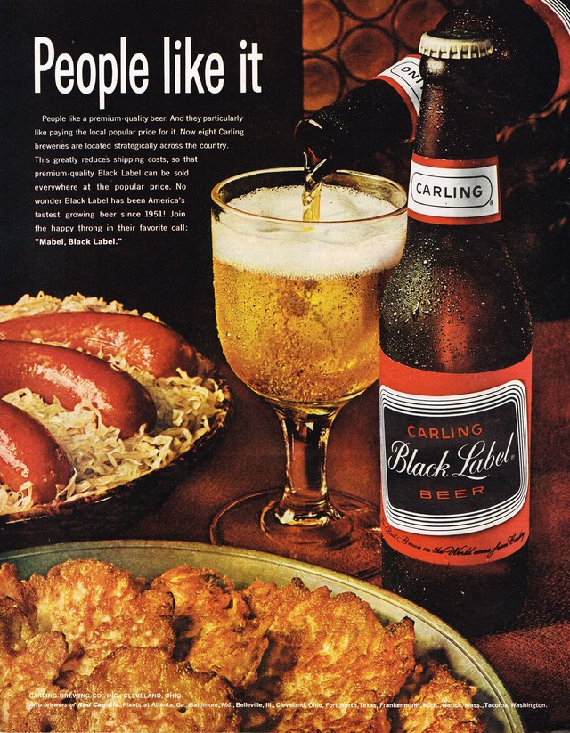 1964 Carling Black Label Beer Ad Photo Picture