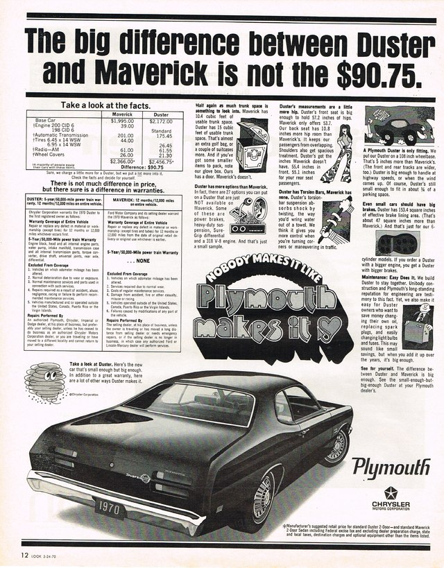 1970 plymouth duster ad photo picture. Black Bedroom Furniture Sets. Home Design Ideas