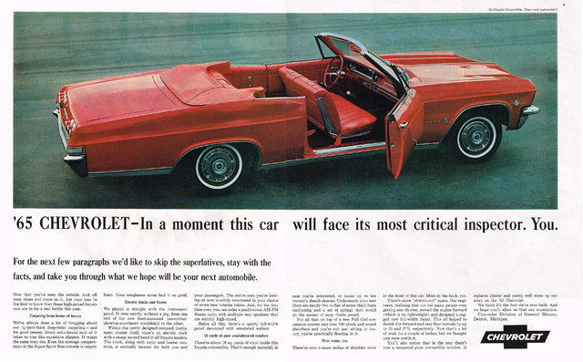 1965 Chevrolet Impala Convertible Ad Photo Picture