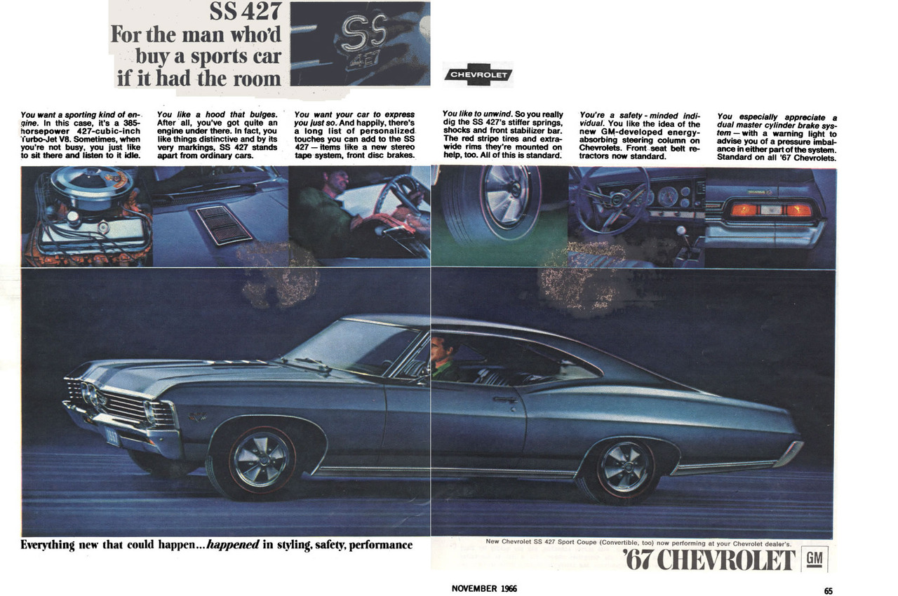 1967 Chevrolet Impala Ss 427 Advertisement Photo Picture