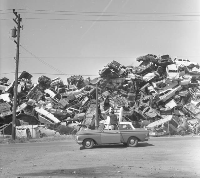 Pile Of Old Abandoned Automobiles In Emeryville, Calif